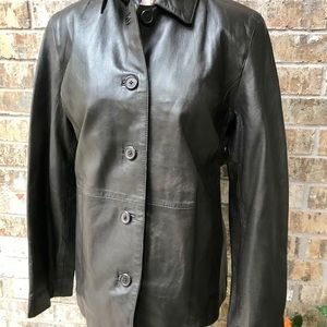 Style & Company chocolate Leather Petite Jacket