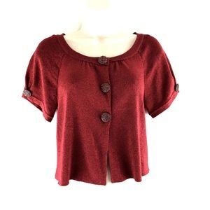 Nicole Miller Rhinestone Buttons Cover Up Top