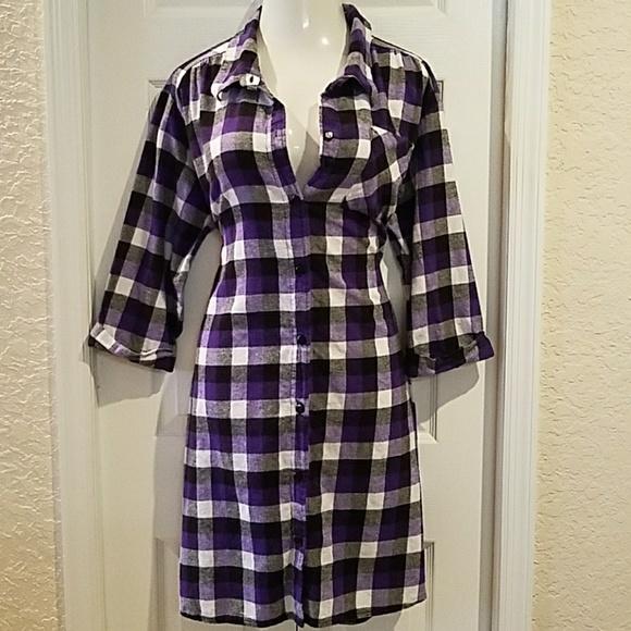 Anthony Richards Dresses | Purple Buffalo Plaid Shirt Dress Plus ...