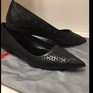 Prada Perforated Leather Pointed Toe Flats