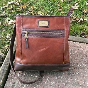 Tignanello Cognac Brown Leather Bucket Crossbody