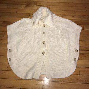 Ivory Wool Blend Canle Nit Button Up Cape Sweater