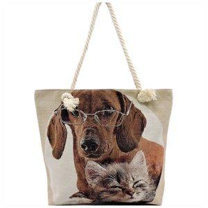 Handbags - Cat & Dog Print Canvas Tote