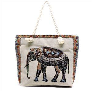 Handbags - Elephant Print Canvas Tote