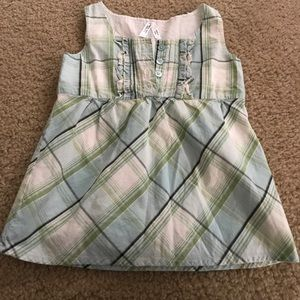 Old Navy girls 5T plaid button up tank top