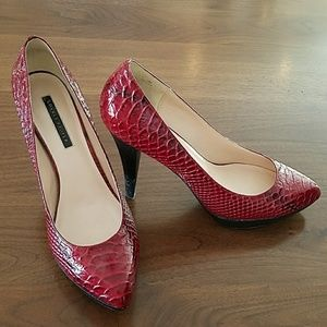 Shoes - Red faux snake skin pumps heels