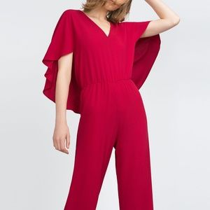 Zara Red Cape Jumpsuit