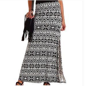 🆕 Charlotte Russe Tribal Print Slit Maxie Skirt