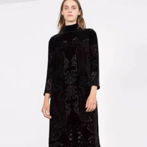 ZARA LONG SILK VELVET DRESS BLACK