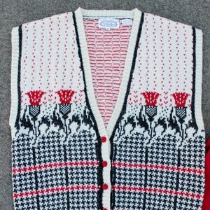 SALE + Vest, Thistle Pattern 100% Wool
