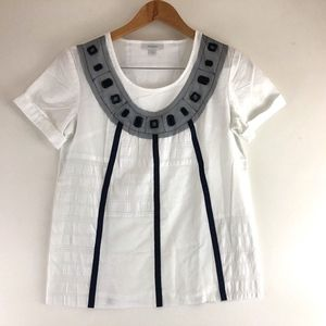 Richard Chai For Target White Blouse Lace Trim Top