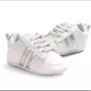 Other - Athletic White/Silver Baby Shoes