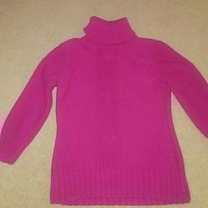 Hot pink turtleneck sweater