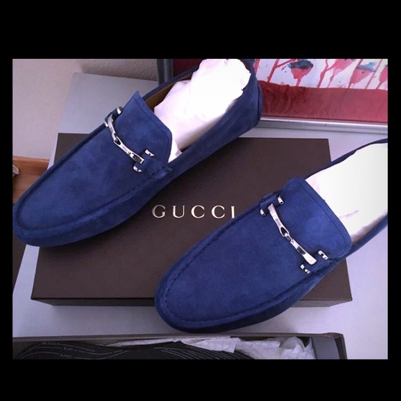 8afca4d57 Gucci Shoes | Mens Blue Suede Loafers Sz 12 Nib | Poshmark
