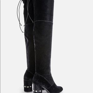 NIB Black Over The Knee Boots With Lace Up Back