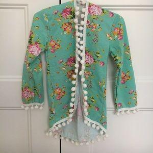 Other - NEW Blue Pink Floral Pom Pom Cardigan Kimono