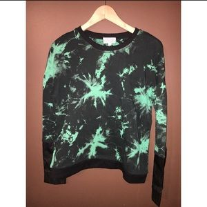 Lucca Couture Tie Dye & Leather Sweatshirt
