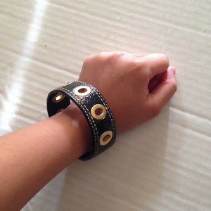 Coach Patent Black Leather Grommet Bangle