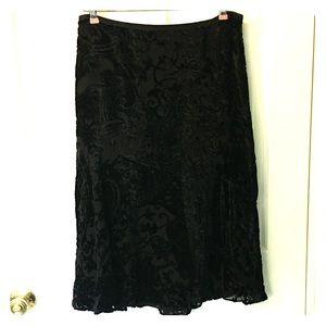 Ann Taylor Velvet Burnout Skirt 6 Black Elegant