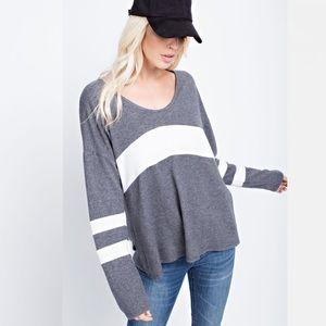 NEW Oversized Brushed Color Block Tunic Sweater