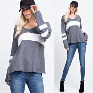 Sweaters - Oversized Brushed Color Block Tunic Sweater