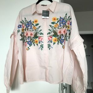 Topshop Oversized Embroidered Ruffle Sleeve Top