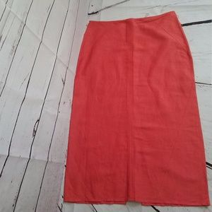 Bandolino Long Orange Career Skirt with Split sz 8