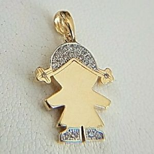 Jewelry - 14k Yellow Gold Baby Girl Charm Pendant