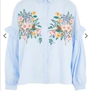 Topshop floral Embroidered ruffle sleeve top