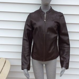 Ann Taylor brown leather fully lined jacket new