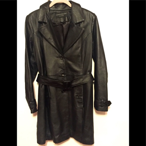 Centigrade Leather Black Trench Coat, Size Medium to Large. Excellent Condition