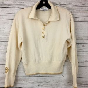 St. John ivory gold pullover sweater vintage