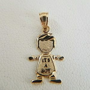 Jewelry - It's a Boy Charm Pendant  in 14k Yellow Gold