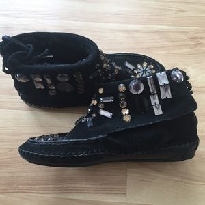 Tory Burch bejeweled bootie moccasins