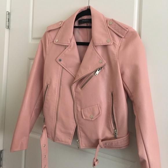 352b8aa4d96 Zara Jackets & Coats | Never Worn Pink Moro Jacket Faux Leather ...