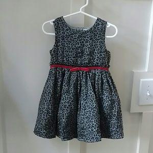 """Girls 18M """"velveteen"""" leopard print dress"""