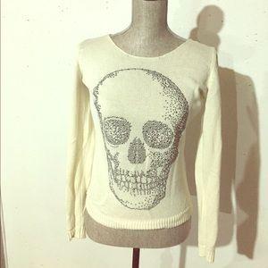 Hot Topic Skull Cream Sweater Size Small