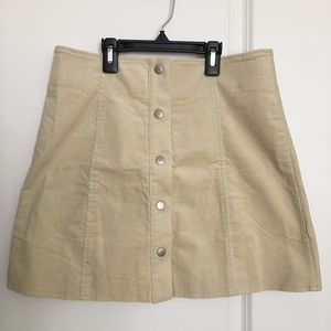 Button Front Cord Mini Skirt