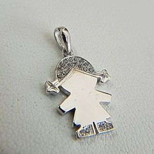 Jewelry - 14k White Gold Baby Girl Charm Necklace