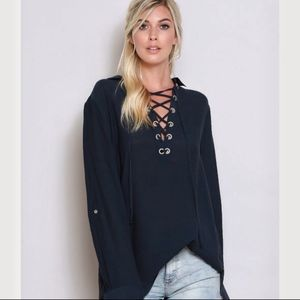 Navy linen lace-up