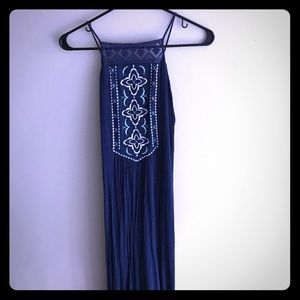 Navy blue maxi dress with high slits/strappy back