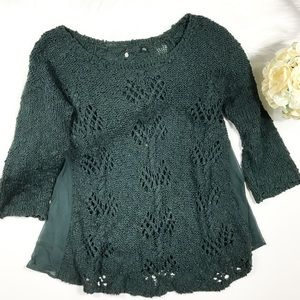 Knitted and knotted side panel knit sweater
