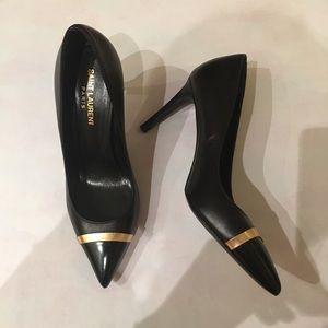 YSL Saint Laurent Black heels with gold size 37
