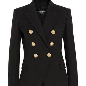 ISO Balmain Black Cotton Blazer Textured Size 34