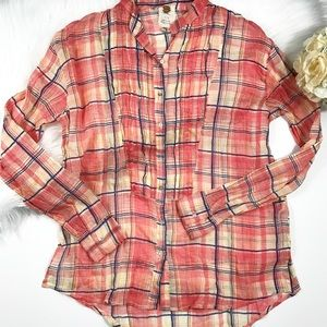 Free People FP one plaid Button down shirt