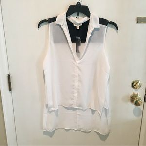 Silence + Noise Off White Button Up Tank Top