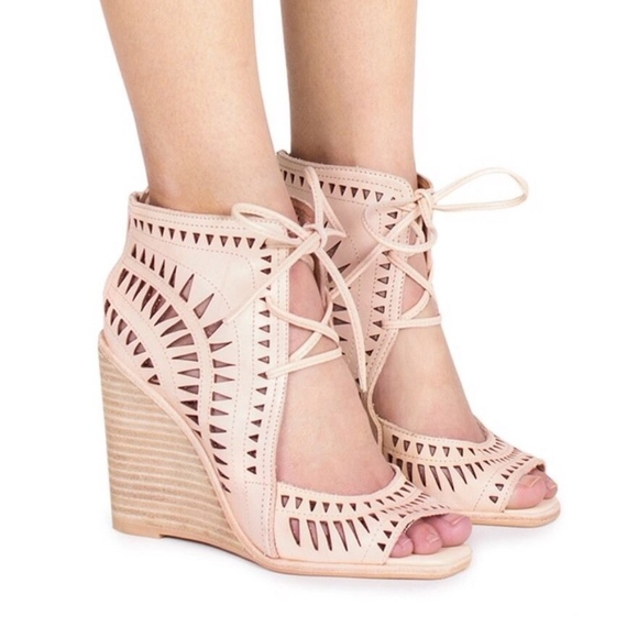 Jeffrey Campbell Shoes - Jeffrey Campbell Rodillo Hi Perforated Nude Wedge