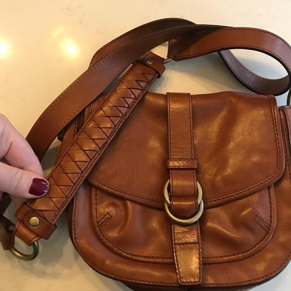 4acfbd5036e Cole Haan Handbags - Cole Haan small brown leather crossbody bag cognac