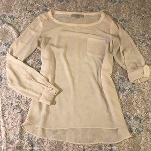 Loft Sheer Cream White Roll Up Sleeve Blouse