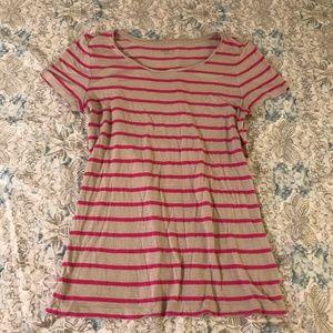 Loft Pink & Tan Striped Tee Shirt